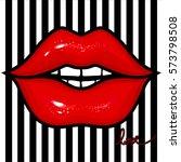 vector red female lips. glow... | Shutterstock .eps vector #573798508