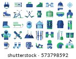 winter sports icon set with... | Shutterstock .eps vector #573798592