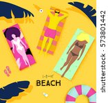summer beach poster with people ... | Shutterstock .eps vector #573801442