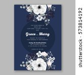 anemone wedding invitation card ... | Shutterstock .eps vector #573814192
