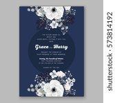 anemone wedding invitation card ... | Shutterstock .eps vector #573814192