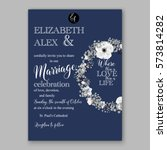 anemone wedding invitation card ... | Shutterstock .eps vector #573814282