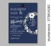 anemone wedding invitation card ... | Shutterstock .eps vector #573814282