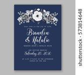 anemone wedding invitation card ... | Shutterstock .eps vector #573814648