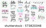 hello spring lettering... | Shutterstock .eps vector #573820348