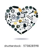 heart spare auto parts for car... | Shutterstock . vector #573828598