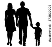 silhouette of happy family on a ... | Shutterstock .eps vector #573830206