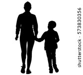 silhouette of happy family on a ... | Shutterstock .eps vector #573830356