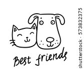 Stock vector cute cat and dog best friends vector illustration 573832375