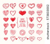 heart symbols in doodle style.... | Shutterstock .eps vector #573833002