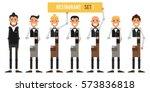 set of restaurant workers.... | Shutterstock .eps vector #573836818