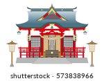 Stock vector shinto shrine isolated on white background 573838966