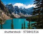beautiful moraine lake near... | Shutterstock . vector #573841516