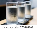 Row Of Ice Water Glass