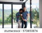 romantic happy young... | Shutterstock . vector #573853876