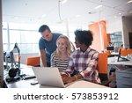 multiethnic startup business... | Shutterstock . vector #573853912