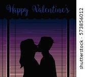 happy valentines kiss... | Shutterstock .eps vector #573856012
