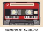 isolated old retro audio tape | Shutterstock .eps vector #57386092