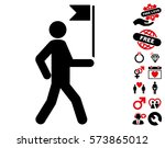 guide man with flag pictograph... | Shutterstock .eps vector #573865012