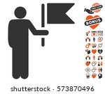 commander with flag pictograph... | Shutterstock .eps vector #573870496