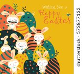 easter bunnies and easter eggs | Shutterstock .eps vector #573877132