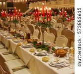 served for wedding banquet hall ... | Shutterstock . vector #573883615