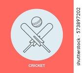 cricket vector line icon. bats... | Shutterstock .eps vector #573897202