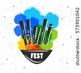 holi fest lettering with... | Shutterstock .eps vector #573901042