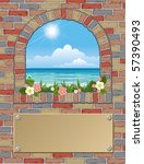 Ancient Arch Window With Sea...
