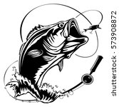 fishing logo. bass fish with...