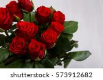 Stock photo red roses on white wood vintage background march or valentines day love design fresh natural 573912682