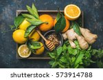 ingredients for making immunity ... | Shutterstock . vector #573914788