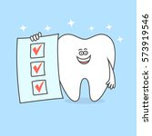 tooth with completed to do list.... | Shutterstock .eps vector #573919546
