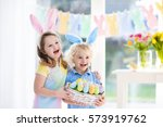 Little Boy And Girl In Bunny...