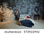 romantic interior loft style... | Shutterstock . vector #573922942