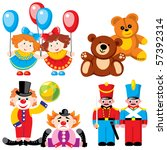 vector images of children's toys - twins