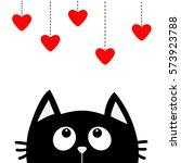 black cat looking up to hanging ... | Shutterstock .eps vector #573923788