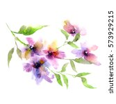floral background. watercolor... | Shutterstock . vector #573929215
