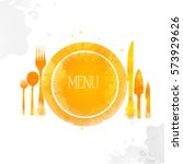 plate fork  spoon and knife... | Shutterstock .eps vector #573929626
