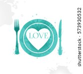 plate  fork and knife. cooked... | Shutterstock .eps vector #573930532