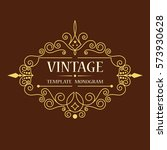 vintage vector monogram.... | Shutterstock .eps vector #573930628