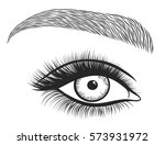 black and white hand drawn eyes ...   Shutterstock .eps vector #573931972