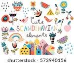 set of cute scandinavian style... | Shutterstock .eps vector #573940156