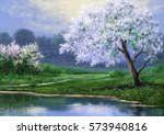 spring landscape paintings ... | Shutterstock . vector #573940816
