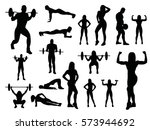 sport woman and man silhouettes ... | Shutterstock .eps vector #573944692