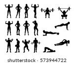 sport woman and man silhouettes ... | Shutterstock .eps vector #573944722