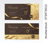 set of luxury gift vouchers... | Shutterstock .eps vector #573973012