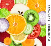 fruits and vegetables. mixed...   Shutterstock . vector #573974398