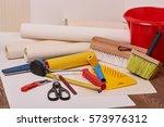still life from rolls of wall... | Shutterstock . vector #573976312
