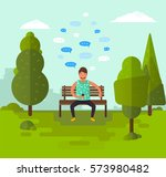 young man sitting on a bench in ... | Shutterstock .eps vector #573980482